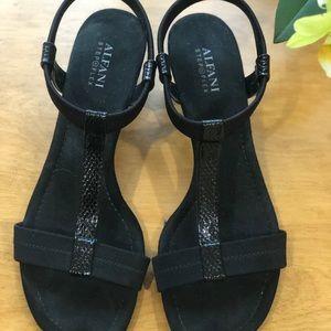 Alfani Shoes - ALFANI T-strap Black Sandals, 9